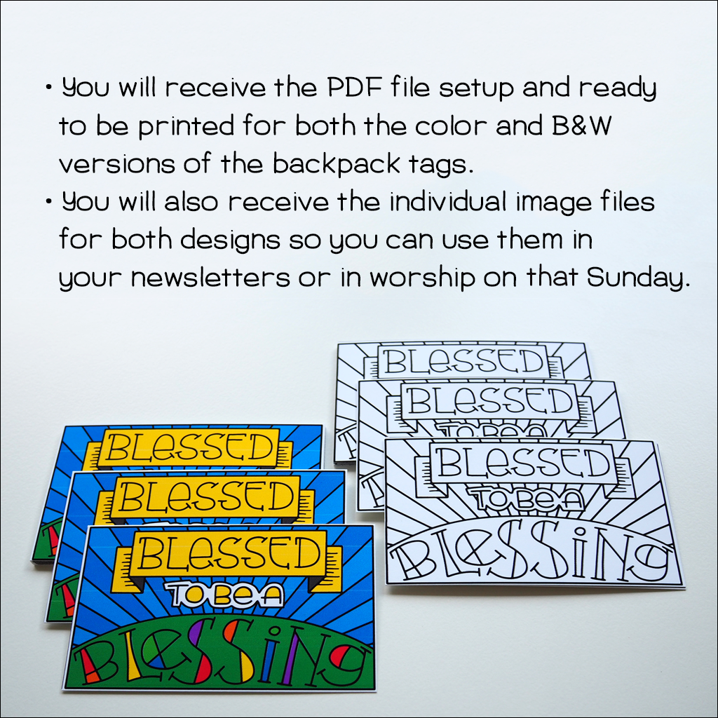 Backpack Tag PDF files Color and B&W
