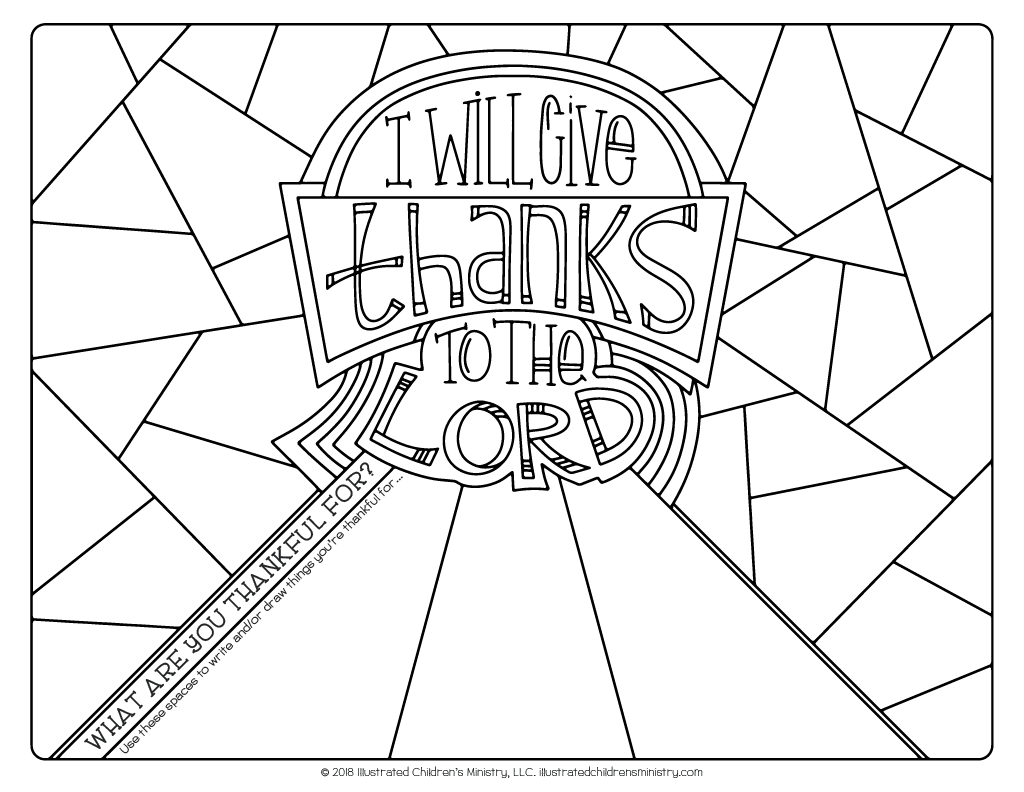 I Will Give Thanks to the Lord Coloring Page