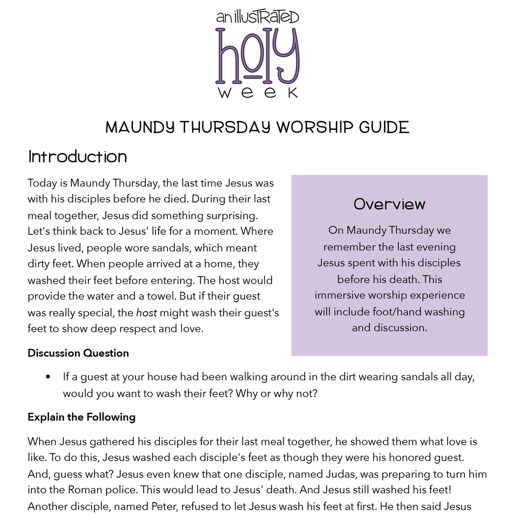 An Illustrated Holy Week Maundy Thursday Resource