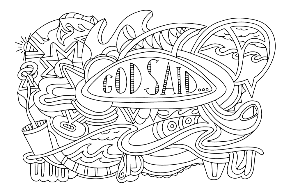 """God said..."" coloring page B&W simplified"