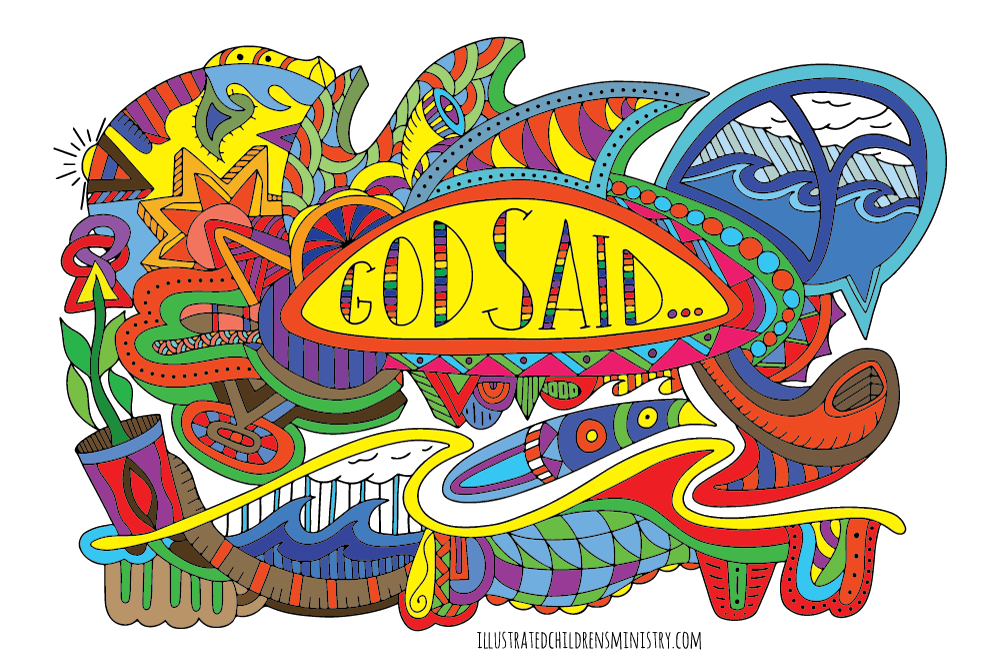 """God said..."" coloring page"
