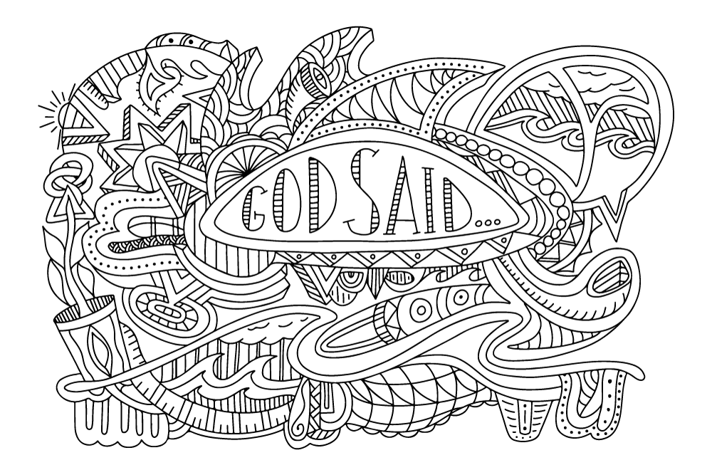 """God said..."" coloring page B&W"