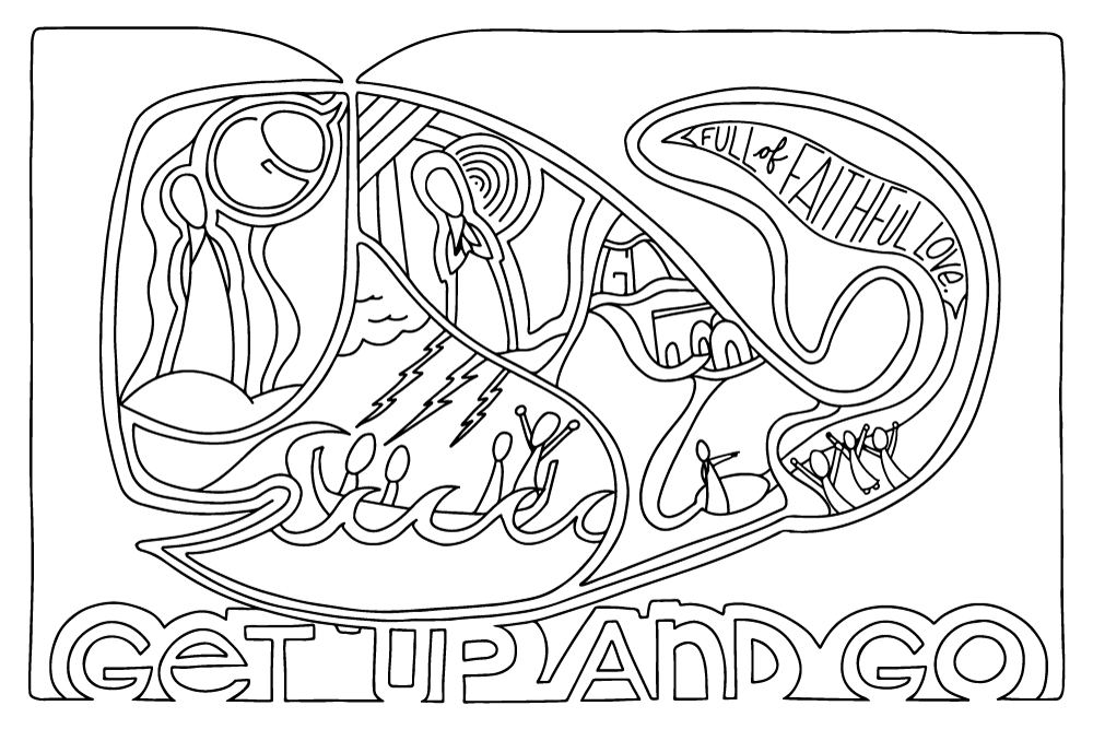"""Get up and go"" coloring page B&W simplified"