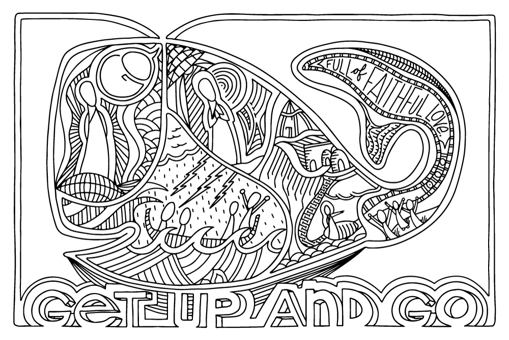 """Get up and go"" coloring page B&W"