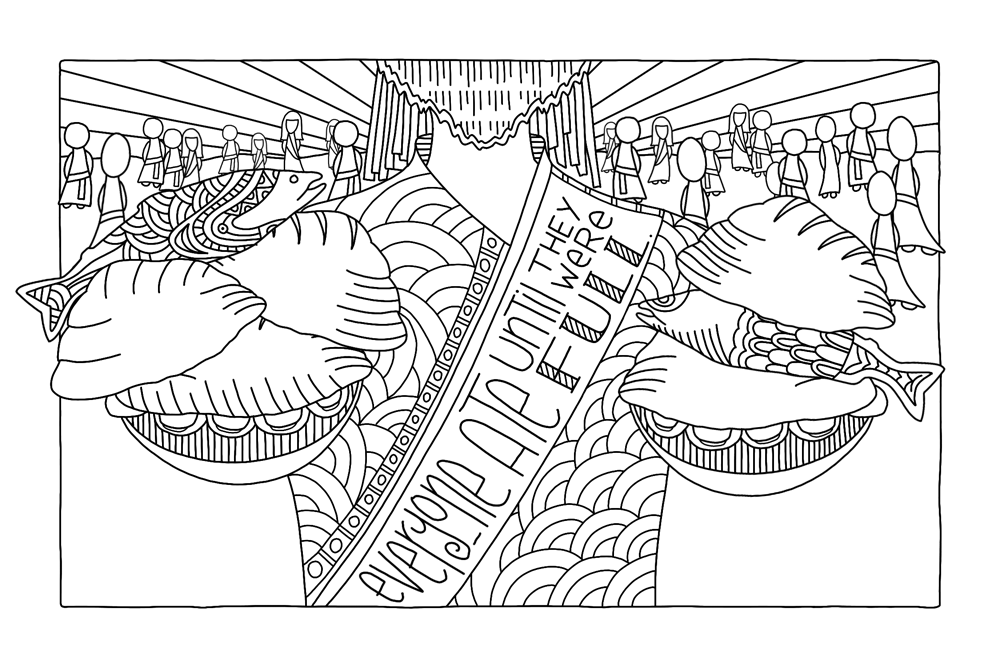 """Everyone ate until they were full"" coloring page B&W"