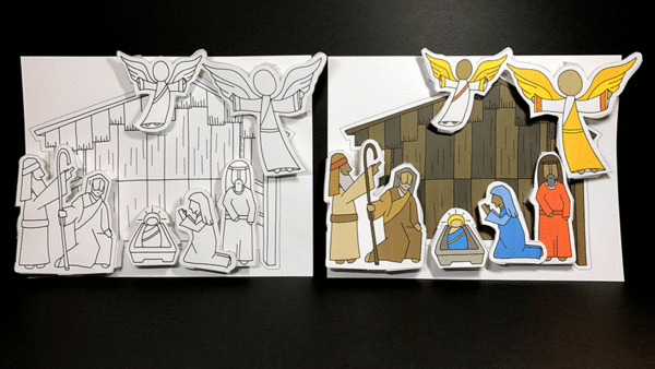 An Illustrated Nativity scene to print, color, and construct at home