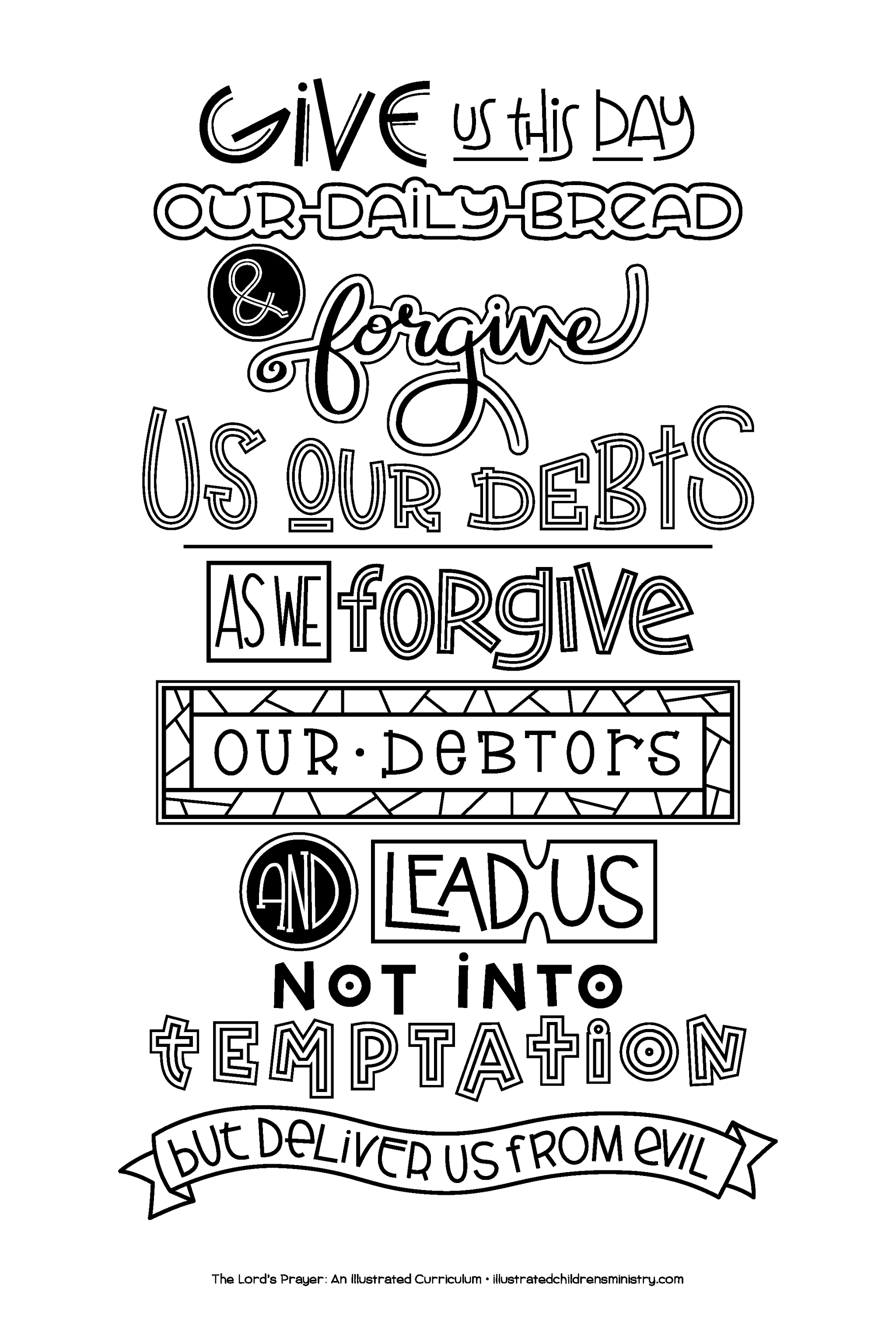 Hand-Lettered Lord's Prayer Coloring Poster B&W