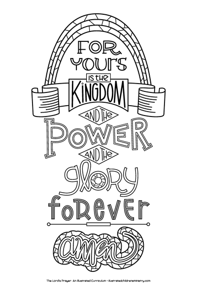 Hand-Lettered Lord's Prayer Coloring Posters