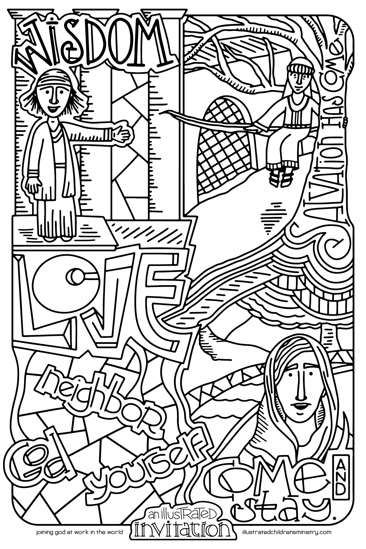 Illustrated Invitation coloring page 2: God's Invitation in the New Testament