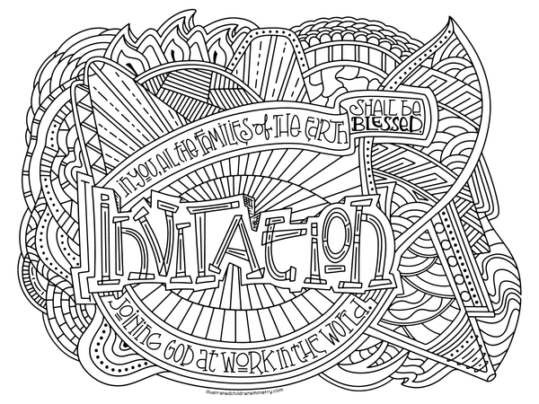 An Illustrated Invitation large horizontal coloring page