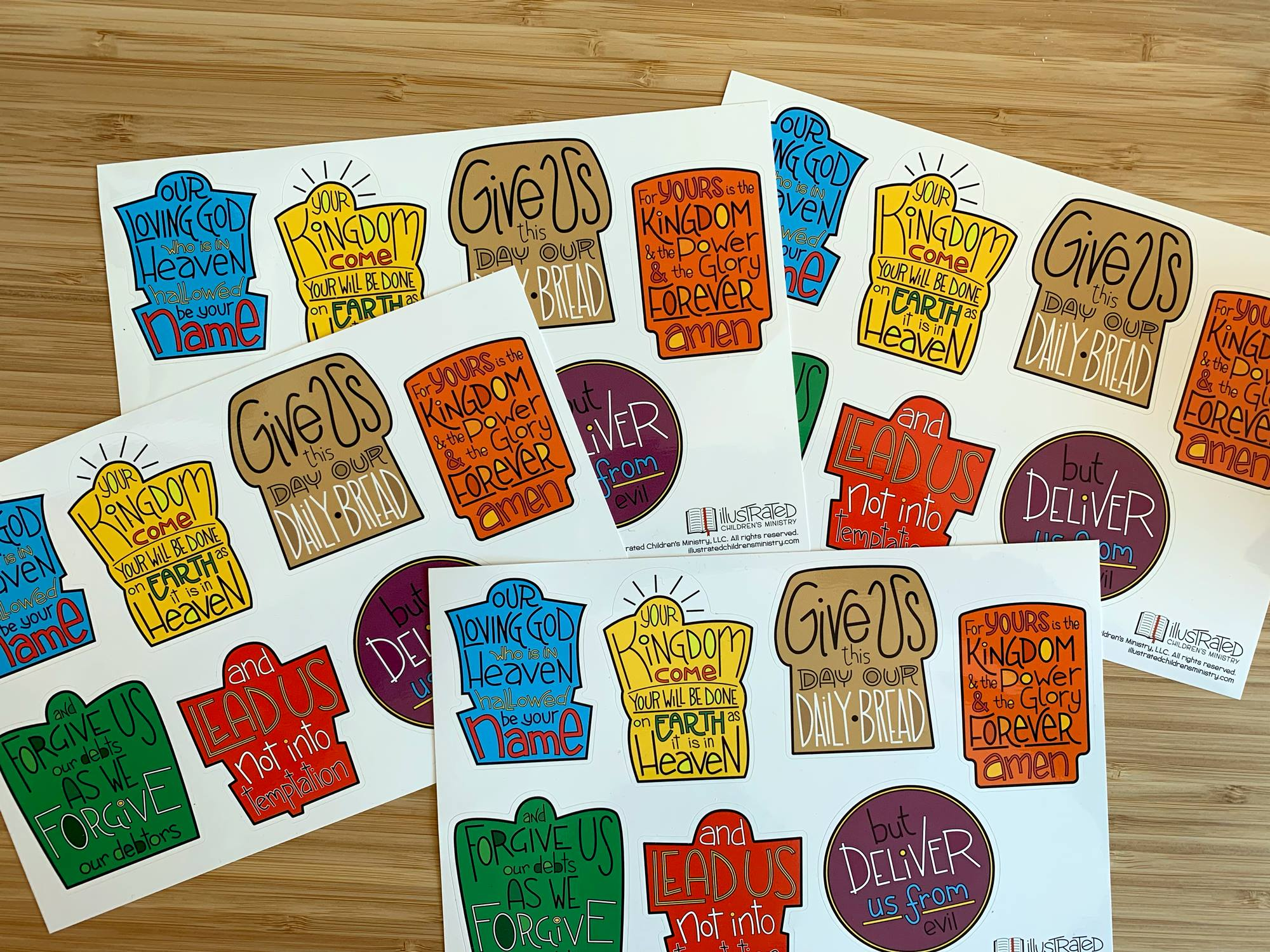 Sticker sheets of the Lord's Prayer