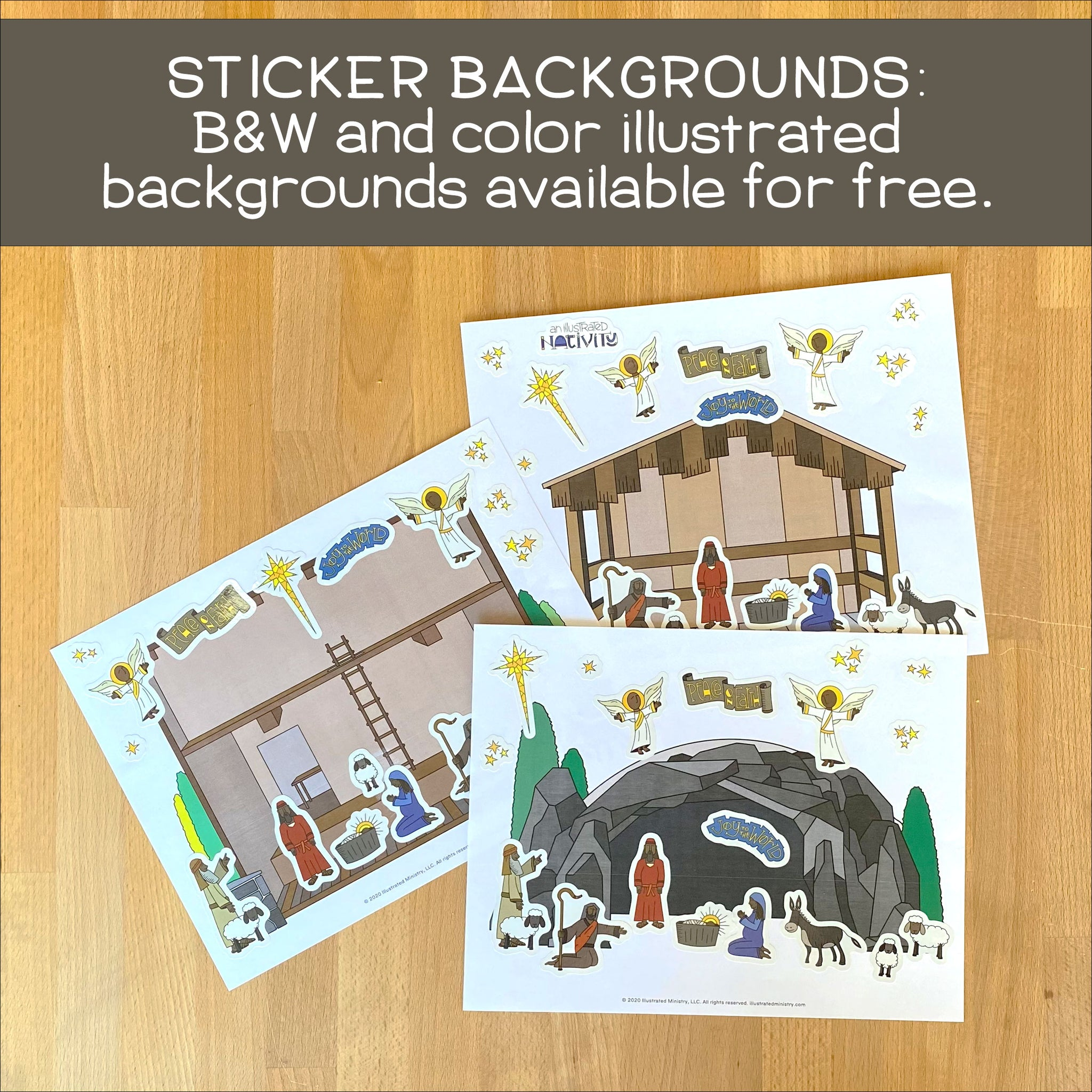 Illustrated Nativity Sticker Sheets