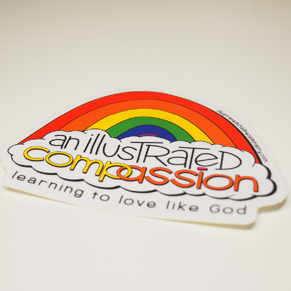 Illustrated compassion rainbow sticker
