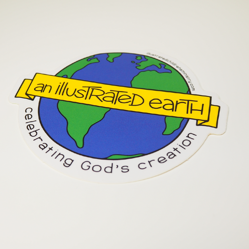 Illustrated earth globe sticker