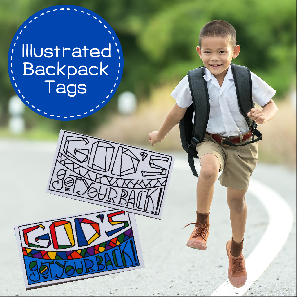 God's Got Your Back Illustrated backpack tags