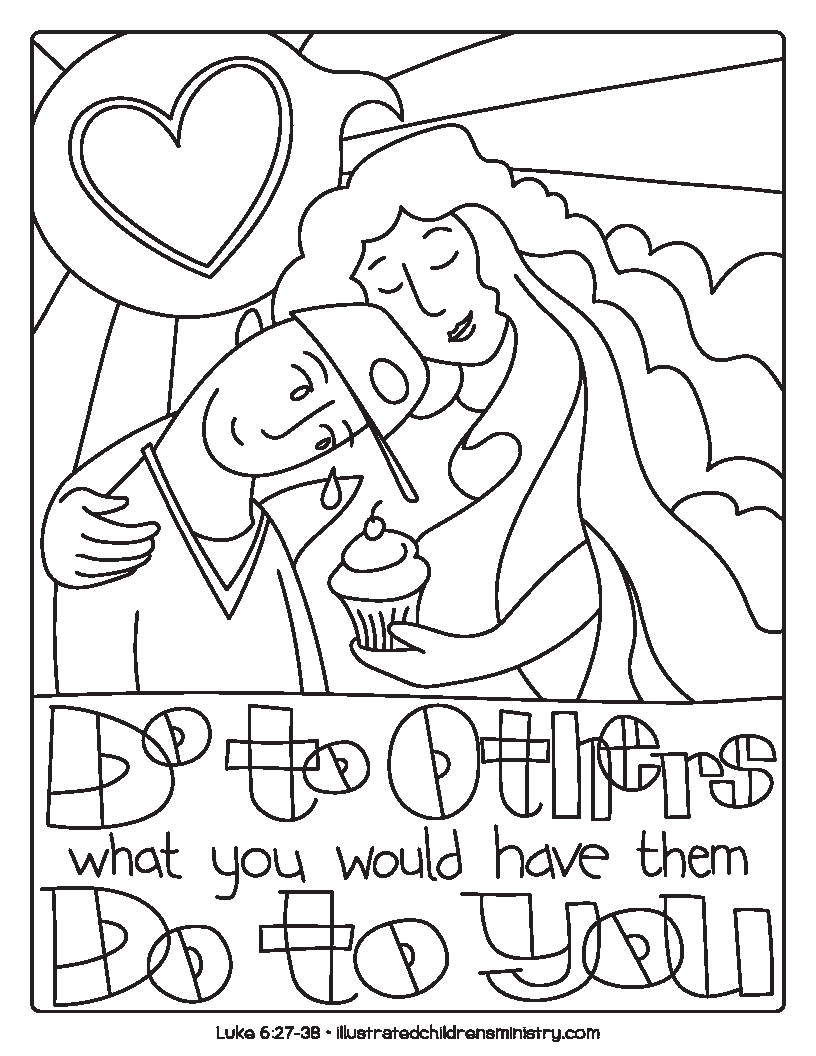 """Do to others what you would have them do to you"" coloring page"