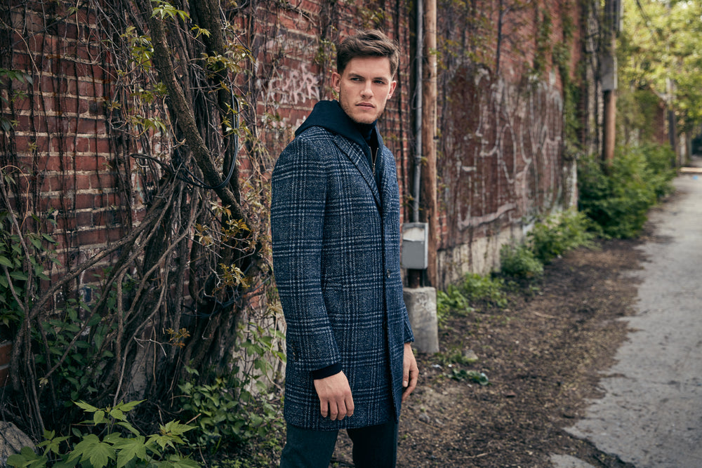 Model Wearing Spencer Overcoat in Navy Plaid