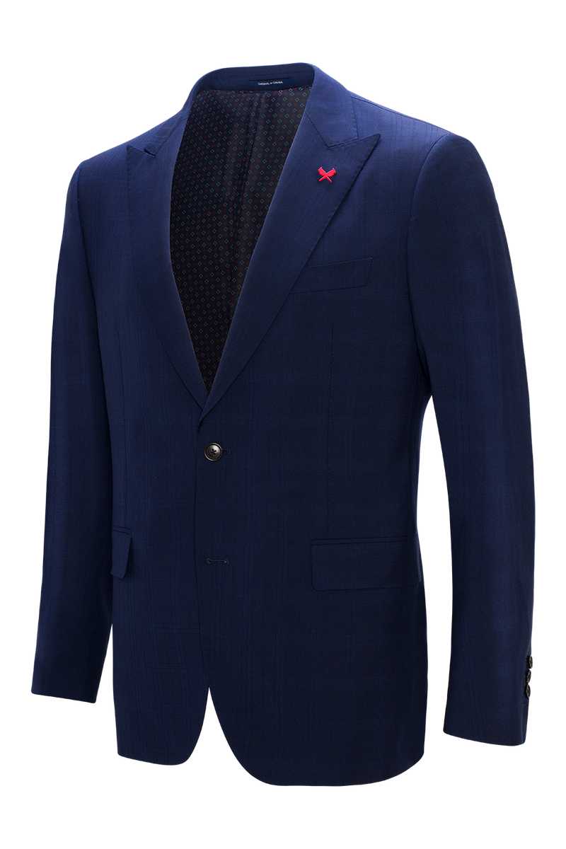 Watson Modern Fit Wool Suit - Navy Plaid
