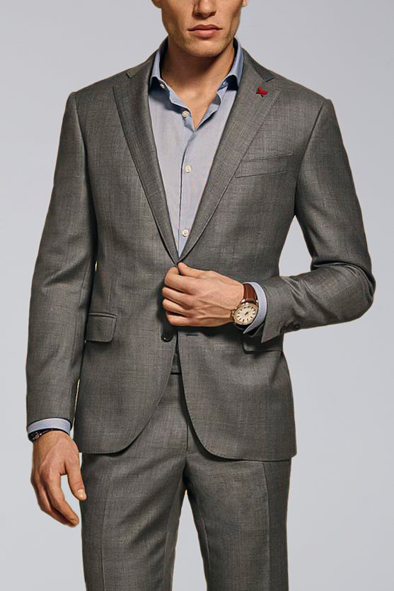 Westbury Contemporary Tailored Wool Suit - Medium Grey