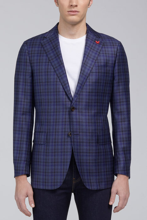 Ashton Graphic Plaid Classic Fit Sport Coat in Navy - Sportcoats - Cardinal of Canada-US-Ashton Graphic Plaid Classic Fit Sport Coat in Navy