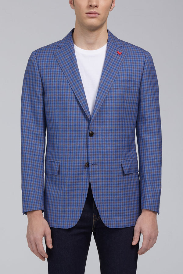 Ashton Multi Check Classic Fit Sport Coat in Light Blue - Cardinal of Canada-US-Ashton Multi Check Classic Fit Sport Coat in Light Blue