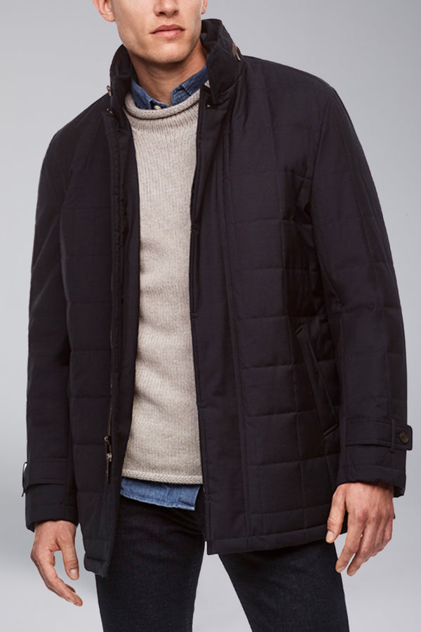 Belmont Technical Wool Car Coat - Navy