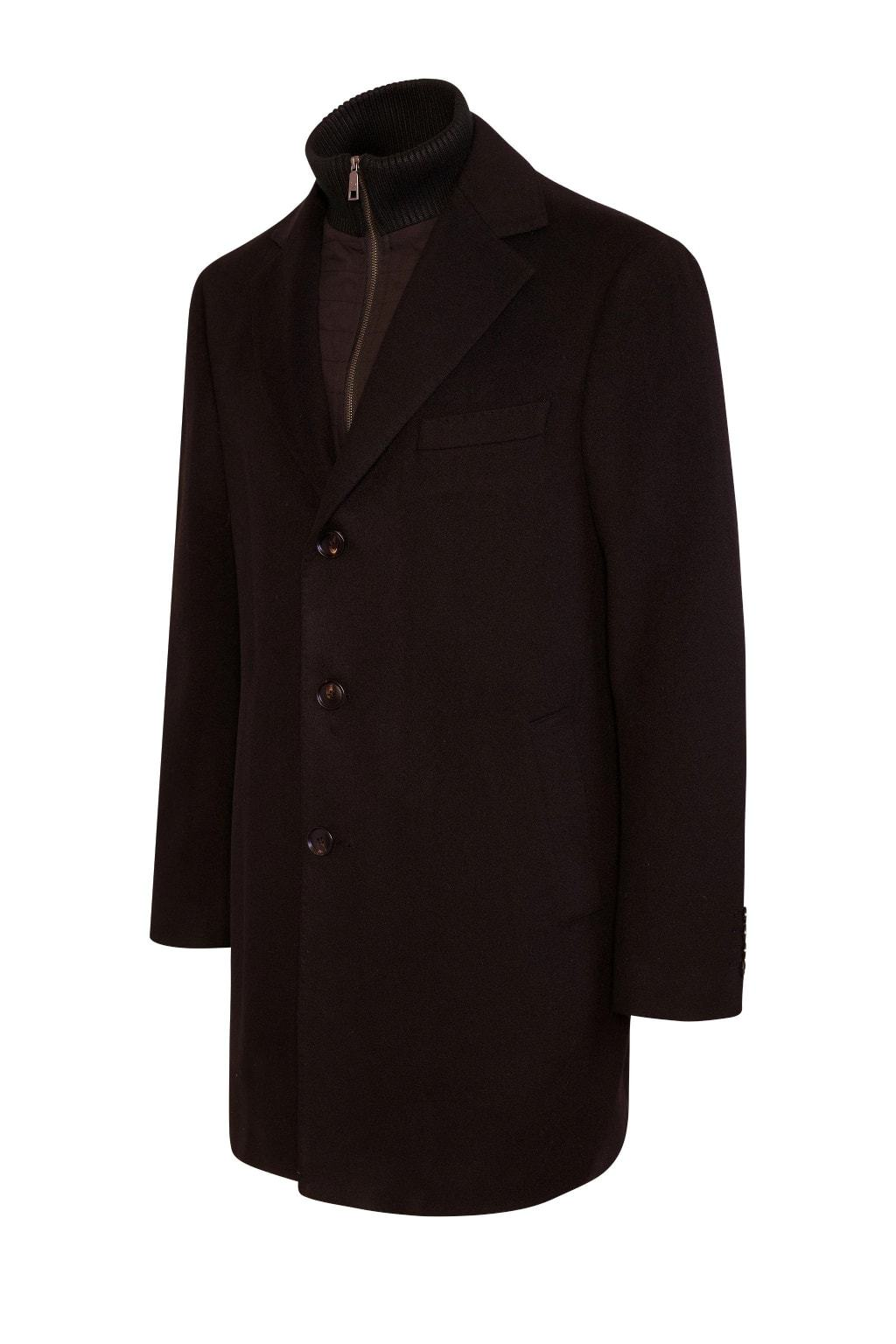 Black LeClaire Cashmere Wool Blend Overcoat - Cardinal of Canada-US