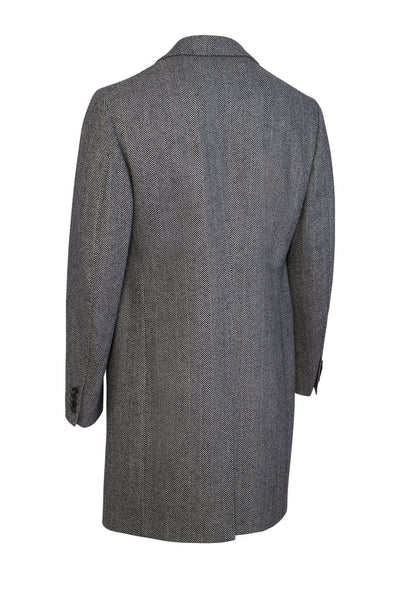 Black & White Herringbone Shepard Double-Breasted Wool Overcoat - Cardinal of Canada-US