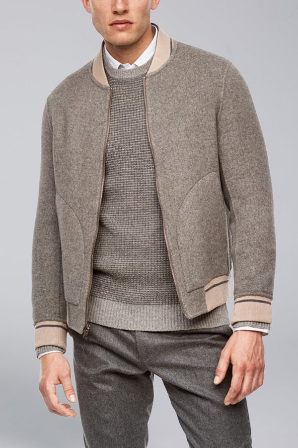 Brady Cashmere Wool Blend Reversible Bomber - Camel-Grey - Bombers - Cardinal of Canada-US-Brady Cashmere Wool Blend Reversible Bomber - Camel-Grey
