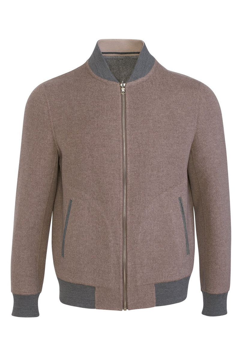 Camel-Grey Brady Cashmere Wool Blend Reversible Bomber - Cardinal of Canada-US