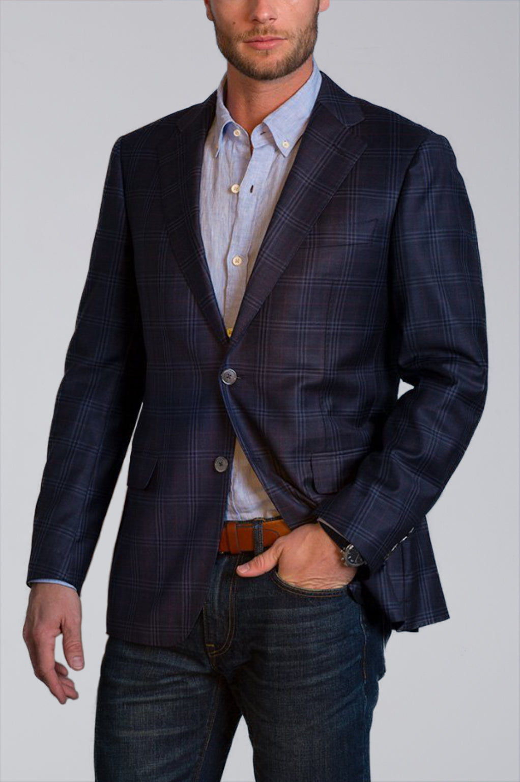 Dylan Sartorial Sport Coat in Grey and Blue Plaid - Cardinal of Canada-US