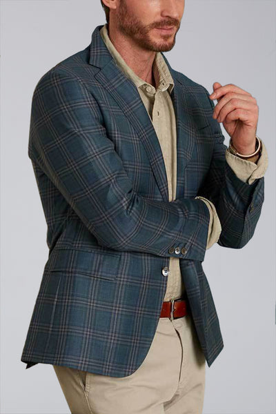Dylan Sartorial Sport Coat in Washed Green Plaid - Cardinal of Canada-US