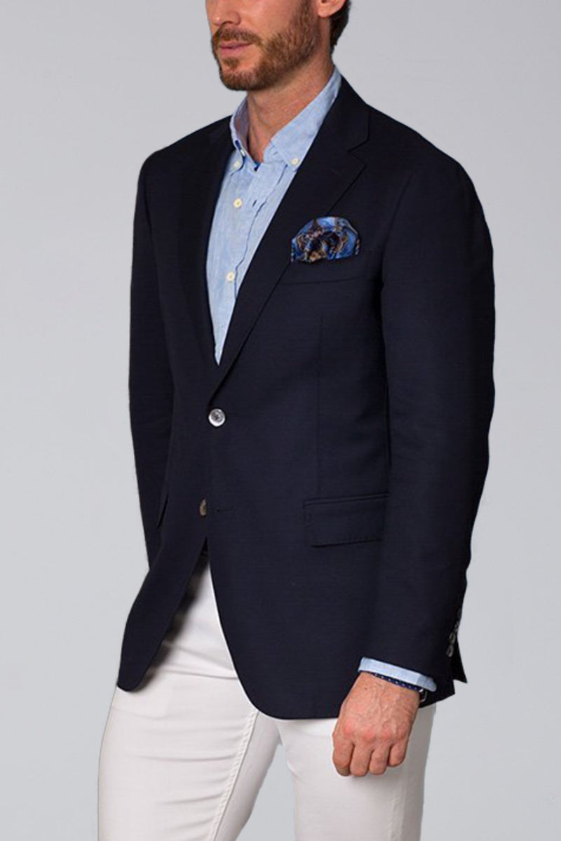 Dylan Solid Regular Fit Sport Coat - Navy - Sportcoats - Cardinal of Canada-US-Dylan Navy Sport Coat - Side View