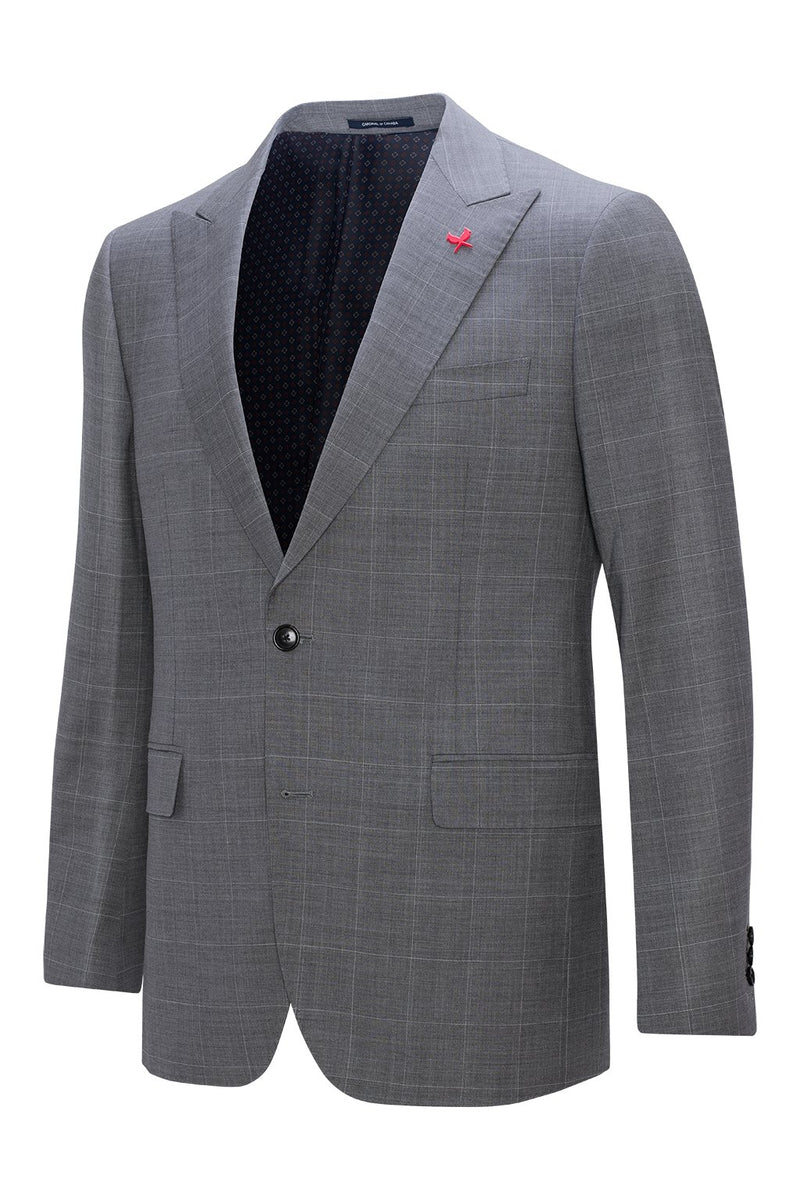 Gray Check Watson Modern Fit Wool Suit - Cardinal of Canada-US