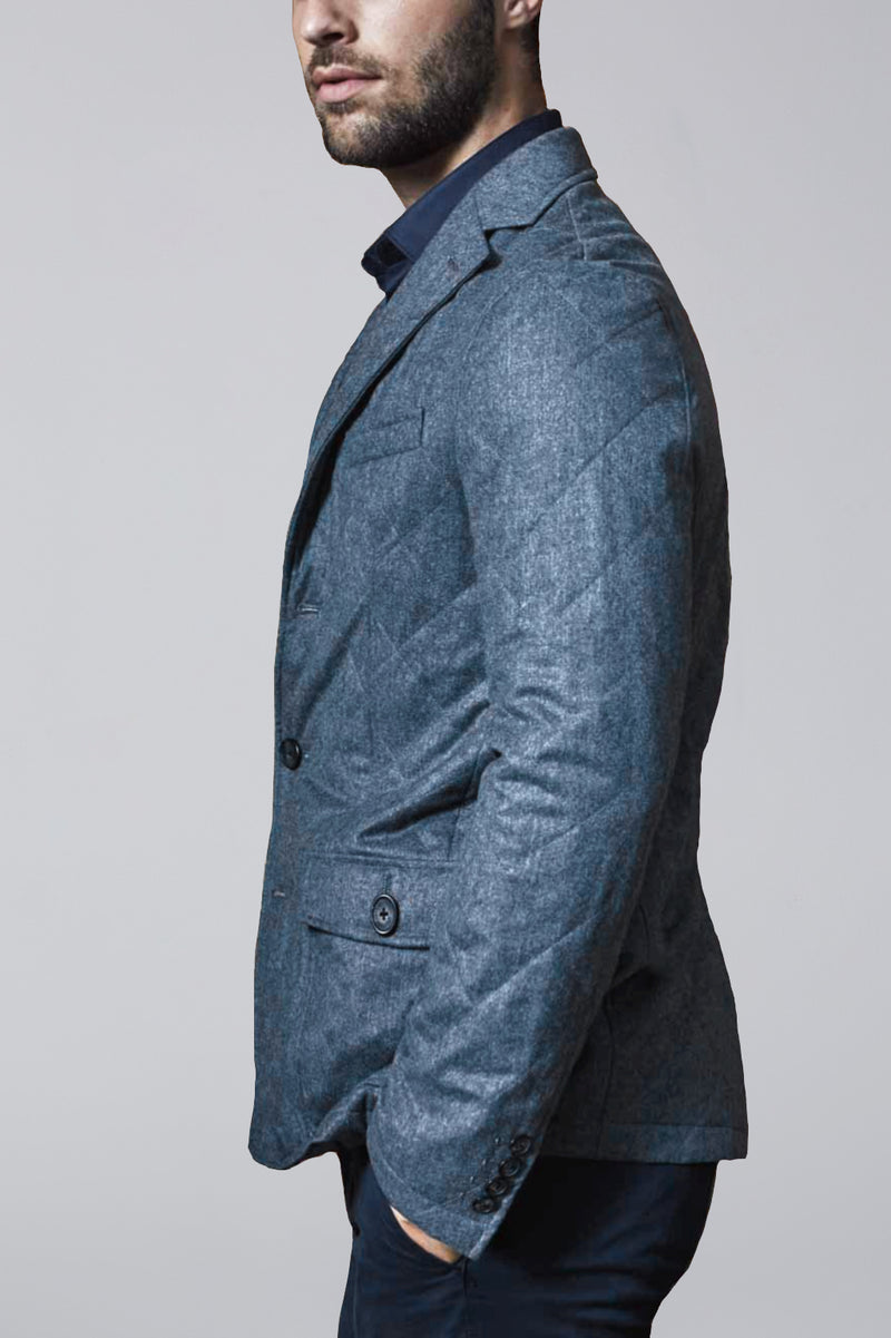 Knox Quilted Wool Slim Fit Blazer - Gray Flannel