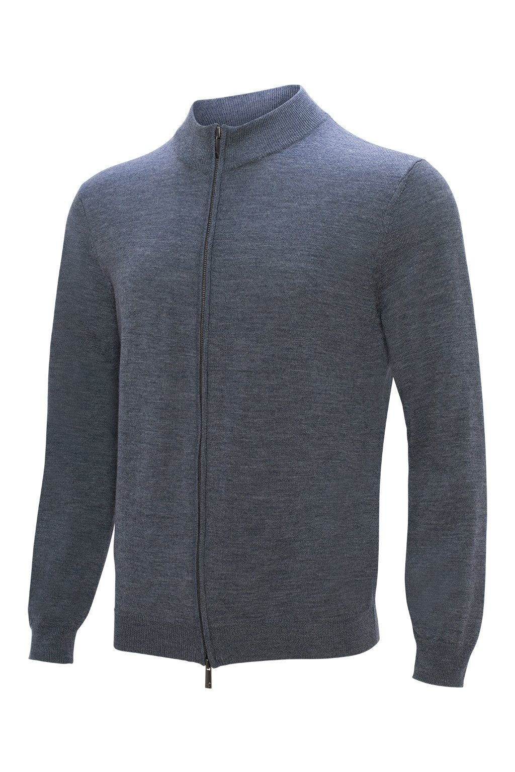 Gray Hennessy Zip Front Wool Knit Sweater - Sweaters - Cardinal of Canada-US-Gray Hennessy Zip Front Wool Knit Sweater