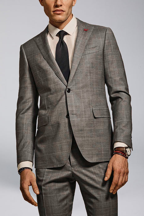 Gray Windowpane Watson Modern Fit Wool Suit - Suits - Cardinal of Canada-US-Gray Windowpane Watson Modern Fit Wool Suit