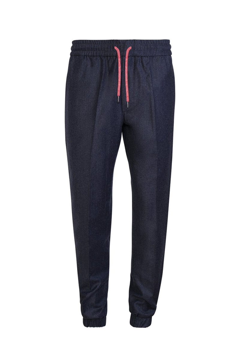 Grey-Blue Jason Relaxed Fit Wool Joggers - Cardinal of Canada-US