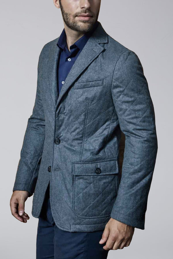 Knox Quilted Wool Slim Fit Blazer - Gray Flannel - Sportcoats - Cardinal of Canada-US-Knox Quilted Wool Slim Fit Blazer - Gray Flannel
