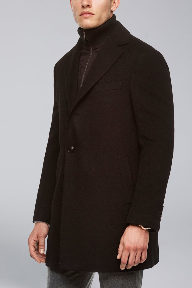 LeClaire Cashmere Wool Blend Overcoat - Black - Overcoats - Cardinal of Canada-US-LeClaire Cashmere Wool Blend Overcoat - Black