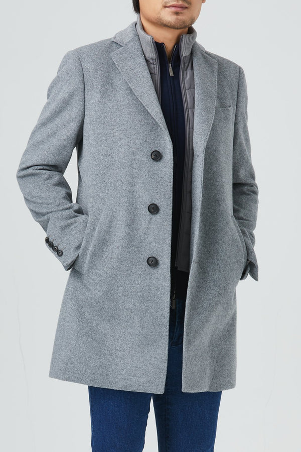 LeClaire Wool Blend Overcoat - Light Grey - Overcoats - Cardinal of Canada-US-LeClaire Wool Blend Overcoat - Light Grey