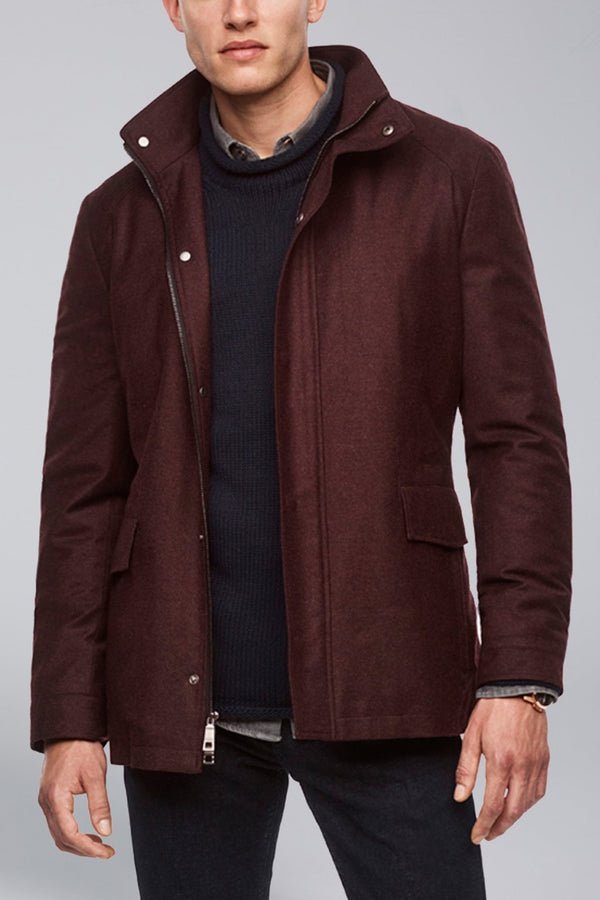 McGuire Straight Fit Wool Car Coat - Burgundy - Raincoats - Cardinal of Canada-US-McGuire Straight Fit Wool Car Coat - Burgundy
