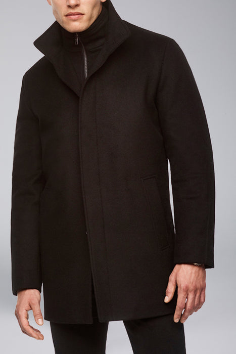 Black Mont-Royal Versatile Cashmere Wool Overcoat