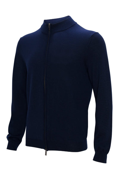 Navy Hennessy Zip Front Wool Knit Sweater - Sweaters - Cardinal of Canada-US-Navy Hennessy Zip Front Wool Knit Sweater