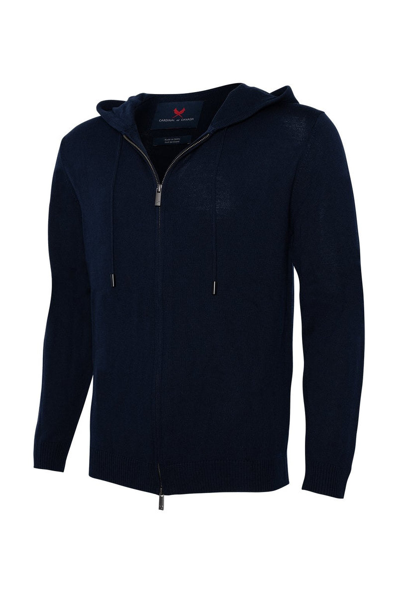 Navy Hiro Zip Front Wool Knit Hoodie - Sweaters - Cardinal of Canada-US-Navy Hiro Zip Front Wool Knit Hoodie