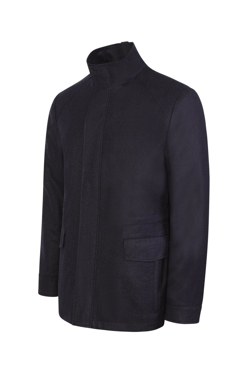 Navy Melange McGuire Straight Fit Wool Car Coat - Cardinal of Canada-US