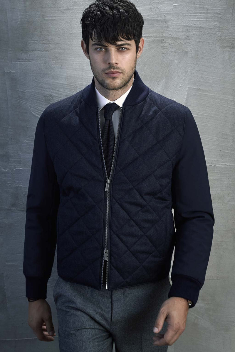 Navy Mix Blake Wool Quilted Bomber Jacket - Cardinal of Canada-US