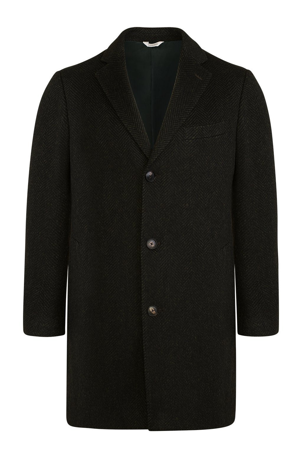 Navy-Olive Herringbone Stone Slim Fit Wool Overcoat - Cardinal of Canada-US