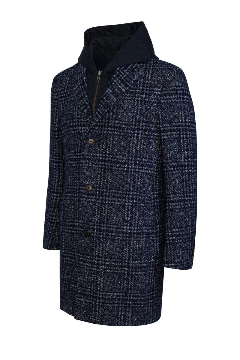 Navy Plaid Spencer Loro Piana Overcoat - Cardinal of Canada-US