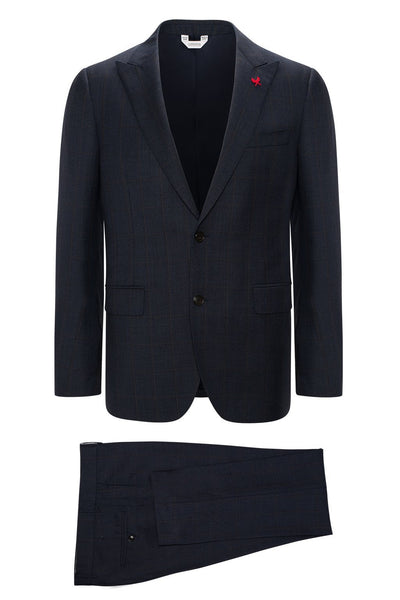 Navy-Plaid Winslo Modern-Slim Fit Wool Suit - Cardinal of Canada-US